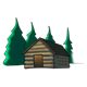 Log Cabin with trees