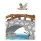 Bridge Scene with a duck flying