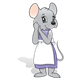Gray Mouse with a purple dress and white apron