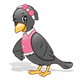 Black Crow with a pink shirt and bow