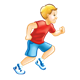 Running Boy wearing a red shirt and blue shorts