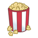 Popcorn in a red and white striped container