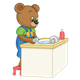 Button Bear washing hands