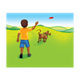 Boy throwing flying disc to dog