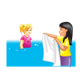 Two Girls in the water and with a towel