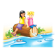 Two Girls on a log by water