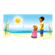 Beach Scene with a girl, a boy, and a smiling sun