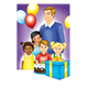 Birthday Party with children, gift, cake, and balloons