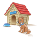 Doghouse with dog holding bone
