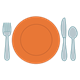 Table Setting with orange plate