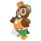 Brown Owl wearing a baseball uniform