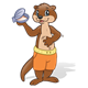 Brown Otter with orange shorts and a clam