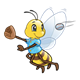 Baseball Bee with a blue shirt, ball and glove