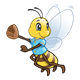Baseball Bee with a blue shirt and glove