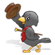 Black Crow with a hat, cane, and red vest
