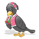 Black Crow with books, a pink shirt, and a bow