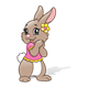 Brown Rabbit with a pink shirt and yellow flower
