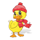 Winter Duck with a red hat and scarf