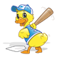 Baseball Duck with bat and base