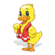 Yellow Duck with red towel