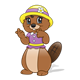 Brown Beaver with a purple shirt and yellow hat