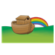Noah's Ark with a rainbow