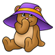 Teddy Bear wearing a purple hat