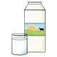 Milk Carton with a glass of milk