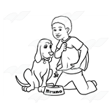 Boy Feeding Dog
