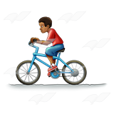 Boy Riding Blue Bike