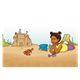Girl on Beach with a crab and a sand castle