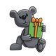 Gray Bear with a green and orange gift