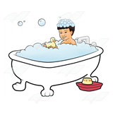 Boy Taking a Bath