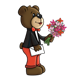 Boy Bear holding flowers and an envelope