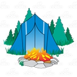 Blue Tent in Forest