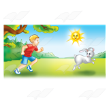 Boy Chasing Rabbit