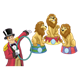 Three Circus Lions with a ringmaster holding a ring