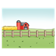 Farm Scene with a barn, grain crop, and a fence