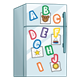 White Refrigerator with colorful alphabet magnets