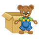 Button Bear in front of a cardboard box