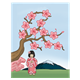 Cherry Blossom Tree with a mountain and a girl