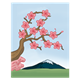 Cherry Blossom Tree with a mountain behind