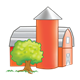 Barn and Silo red with gray roofs