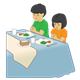 Children Praying at dinner table