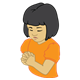 Girl Praying wearing an orange shirt