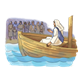 Jesus in Boat with crowds on shore