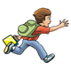 Boy Running with backpack and lunchbox