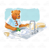 Bear Washing Dishes