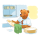 Bear Drying Dishes with cabinet background