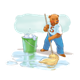 Bear Mopping Floor with background